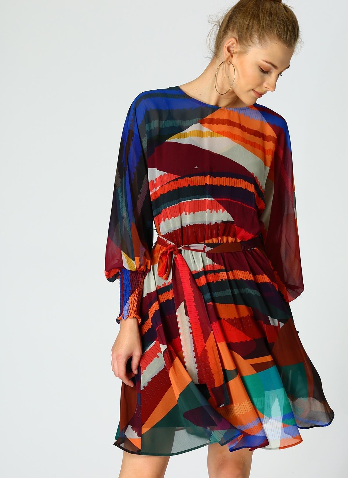 Random Uzun Kollu Desenli Şifon Elbise W19rw0124009 Random Elbise – 119.0 TL